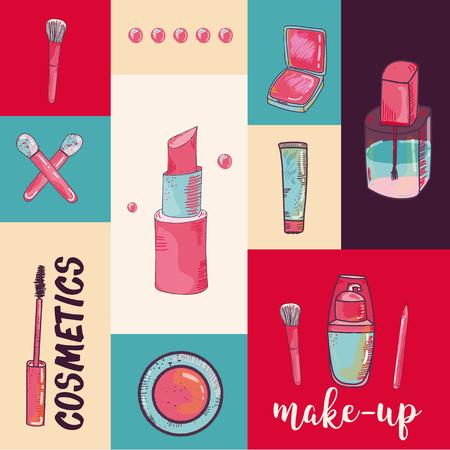 Kleurrijke cosmetische items banner geïsoleerd op kleurrijke achtergrond. Bovenaanzicht. Make-up illustratie Stock Illustratie