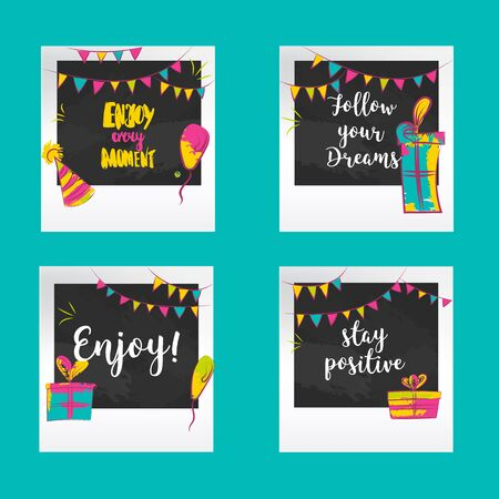Positive greetings Photo frames. Decorative templates for baby, events or memories. Scrapbook concept, vector illustration Ilustrace