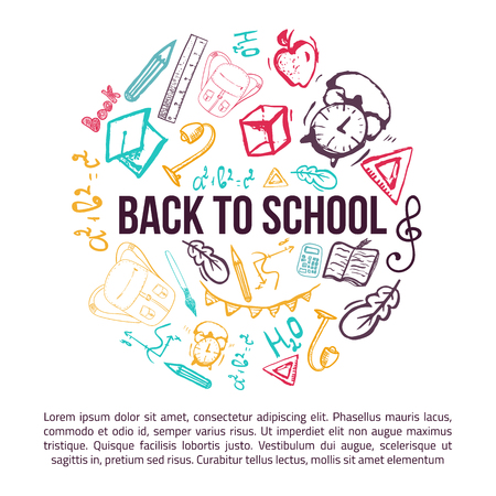 Back to School banner in shape of circle isolated on white background with doodle elements. Vector illustration can be used for greeting cards, clothes