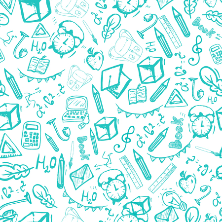 School seamless pattern isolated on white background. Vector illustration can be used for greeting cards, banners, clothes