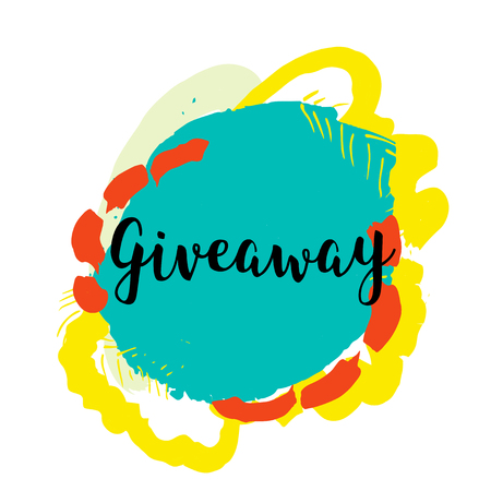giveaway: Giveaway banner for special offer on colorful grunge stain. Hand drawn quote for your design. Can be used for prints, posters, cards and banners Illustration