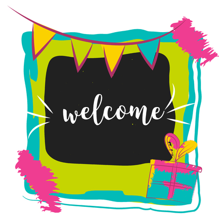locution: Typography Welcome Sign on bright background. Concept image poster for wall art prints, mock up, home interior card Illustration