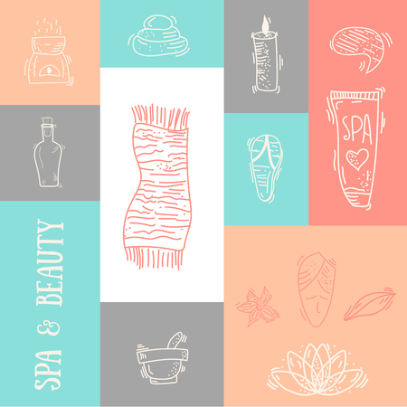 beauty spa: Outline Spa & Beauty colorful banner design with typography. Natural cosmetics set with bottles, candles, cream, stones. Illustration