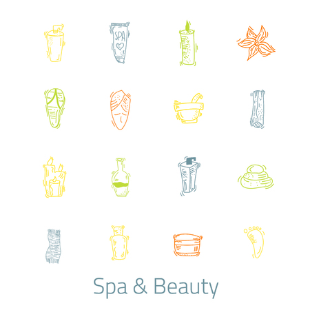 papering: Spa & Beauty Outline web icon set for relax treatments. Symbol design with bottles, candles, cream, stones.