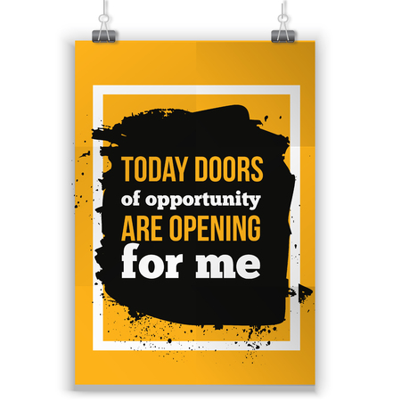 affirmation: Today doors are opening for me. quote motivation for life and happiness. Positive affirmation poster.