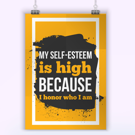 affirmation: I honor who I am Positive affirmation, inspirational quote. Motivational typography posteron dark stain
