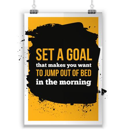 affirmation: Set a goal. Positive affirmation, inspirational quote. Motivational typography posteron dark stain Illustration