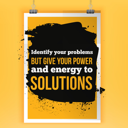 positive energy: Give energy to solutions. Positive affirmation, inspirational quote. Motivational typography posteron dark stain Illustration