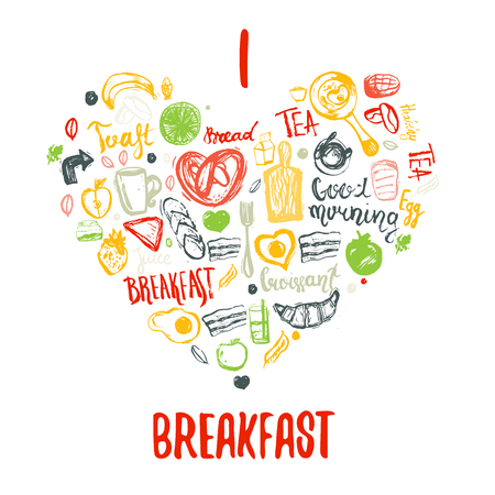 bacon love: I love breakfast doodle hand drawn elements in heart shape. Can be used for menu,banner, background and site header