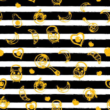 banana bread: Breakfast seamless pattern with eggs and dark stripes. Can be used for menu, banner, background and site header Illustration