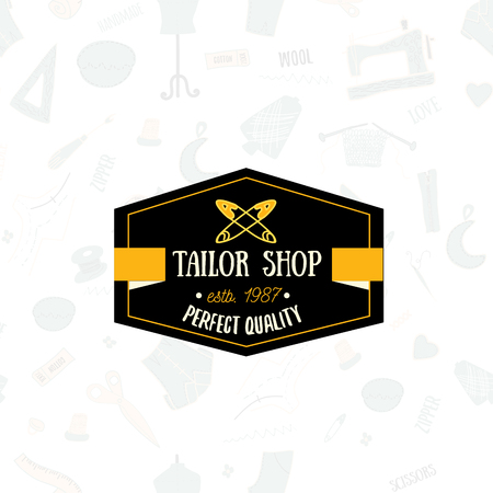 sew tags: Vintage tailor label, design element and badge. Sewing shop, needlework sign with background