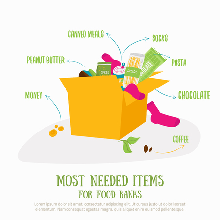 Food donation box concept illustration. Most needed items for food banks vector infographics with caned meat, socks, chockolate, socks