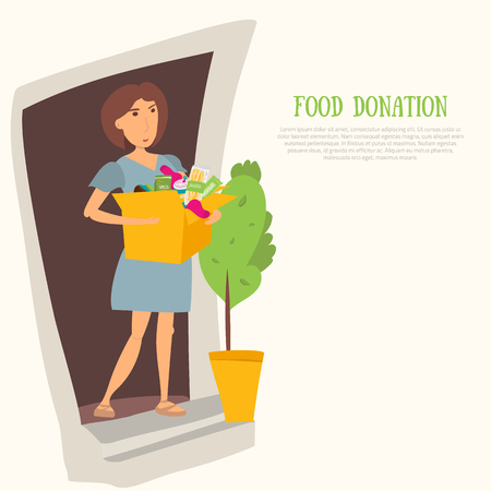 unpacking: Woman Volunteer with food donation and clothes. Most needed items for food banks vector infographics with caned meat, socks, chockolate, socks