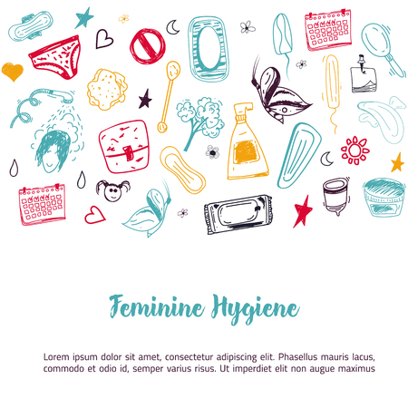 menstrual: Sketch Feminine hygiene banner design with tampon, menstrual cup, soap, sanitary napkin. Modern black line vector illustration for promo materials, package design