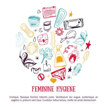 nightly: Sketch Feminine hygiene banner design in circle shape with tampon, menstrual cup, soap, sanitary napkin. Modern black line vector illustration for promo materials, package design