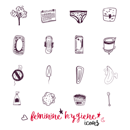 pms: Sketch icons Feminine hygiene big set with tampon, menstrual cup, soap, sanitary napkin. Modern black line vector illustration for banners, promo materials, package design.
