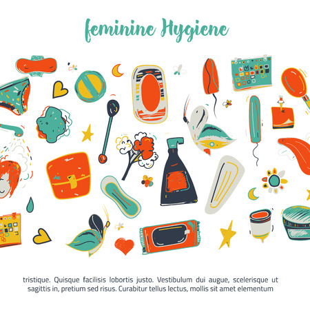 Sketch colorful Feminine hygiene funny banner design with tampon, menstrual cup, soap, sanitary napkin. Modern black line vector illustration for promo materials, package design