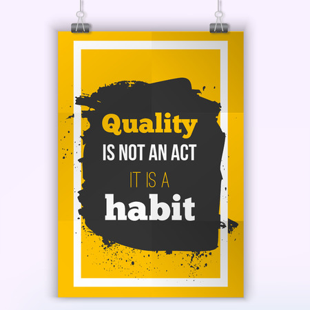 habit: Quality is not an act, it is a habit. Inspirational motivating quote poster for wall. A4 size easy to edit.