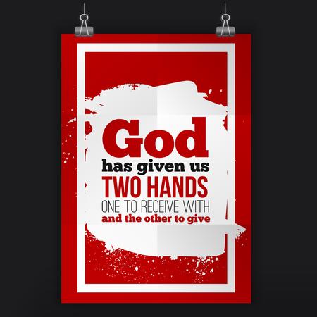 God heeft ons twee handen gegeven. Vector eenvoudig ontwerp. Motiveren, positief citaat. Poster voor wand. A4-formaat gemakkelijk te bewerken.