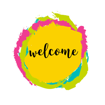 welcome mat: Typography Welcome Sign on bright background. Concept image poster for wall art prints, mock up, home interior card Illustration