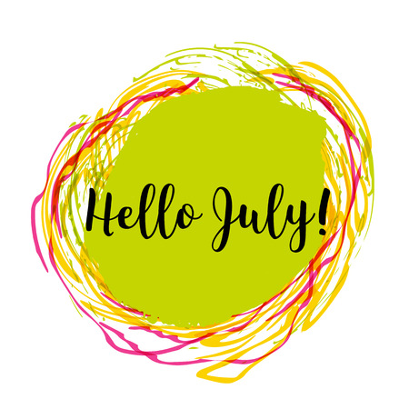 Hello July. Hand drawn design isolated on colorful background. Concept image poster for wall art prints, mock up, home interior card.
