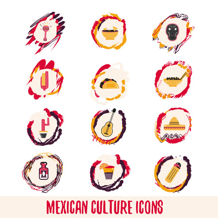 latinoamerica: Mexican Culture Icons on colorful backgrounds, sombrero, pepper, actus skull Illustration