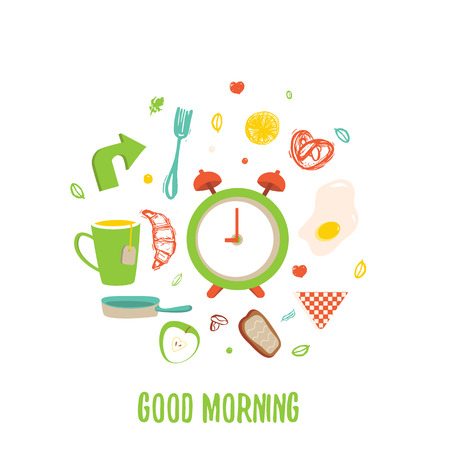bacon and eggs: Breakfast time circle banner with Fried egg and alarm clock, tea cup, croissant, apple