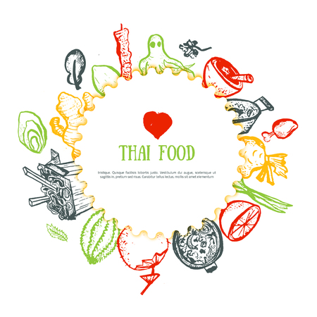 Thai food hand drawn rough doodles. Thai sketch banner for cafe menu, site header, promotion