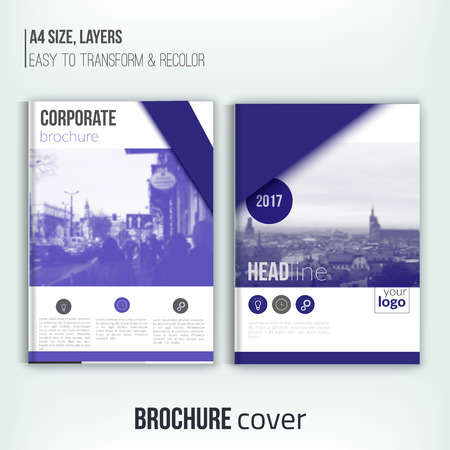 duotone: Clean brochure cover template with blured duotone city landscape and triangular shapes. Blue Corporate identity. Business design, flyer, professional Illustration