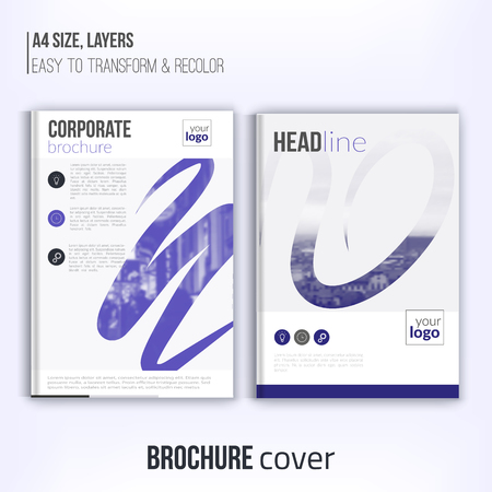 duotone: Clean brochure cover template with blured duotone city landscape and abstract shapes. Blue Corporate identity. Business design, flyer, professional