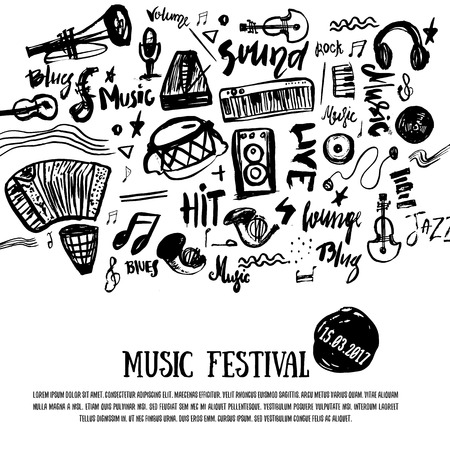 music staff: Music elements. Grunge musical background. Vector illustration. Black notes symbols for music festival backgraunds. Note value. Music staff