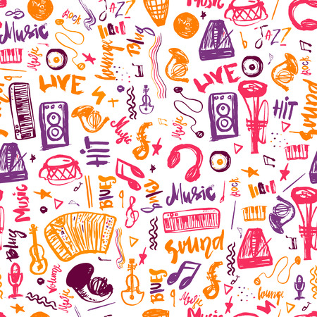 Music symbols funny hand drawn seamless pattern with hand drawn elemens and lettering Vectores