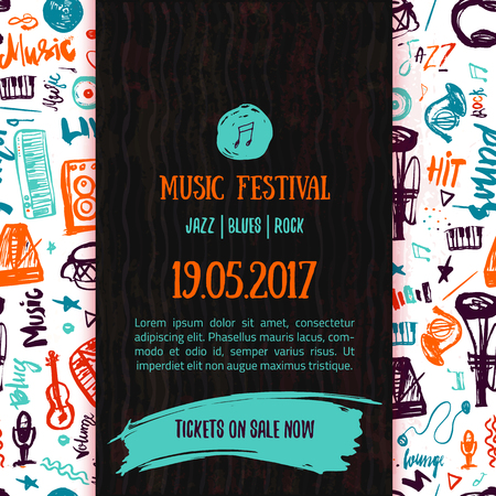 Music concert vector poster template. Can be used for printable concert promotion with lettering and doodle music items Vettoriali