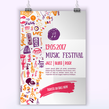 Music concert vector poster template. Can be used for printable concert promotion with lettering and doodle music items Illustration
