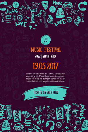 Music concert background. Festival modern illustration. Music event Poster template design