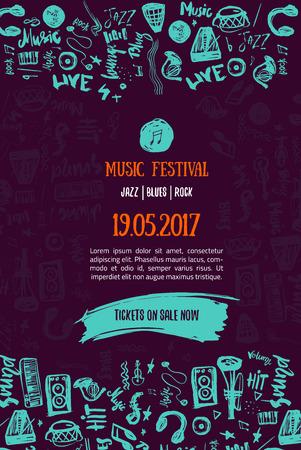 Fondo del concierto de la música. Ilustración moderna del festival. Evento de música Diseño de plantilla de póster