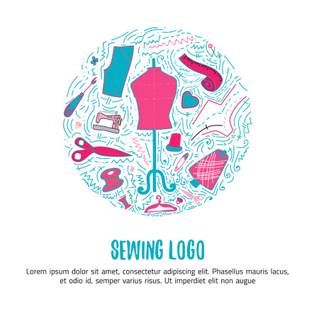 Sewing for hand made products for sewing, tailor shop with lettering. Hand drawn doodle vector illustration for sites, banners and packages