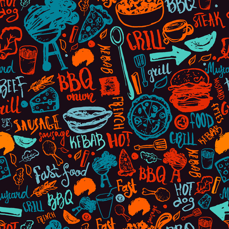 BBQ Barbecue Grill Doodle Seamless Pattern. Colorful BBQ design with hand drawn lettering for wrapping, banners and promotion Vettoriali