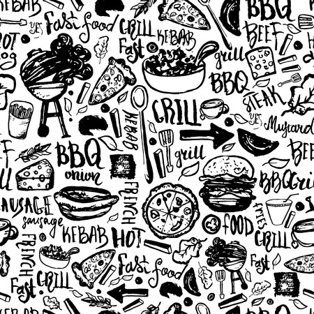 BBQ Barbecue Grill Doodle Seamless Pattern. Colorful BBQ design with hand drawn lettering for wrapping, banners and promotion Ilustração