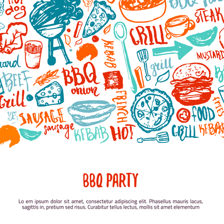 BBQ opening party announcement. Doodle hand-drawn poster with barbeque accessories, lettering vector illustration on white background Illustration
