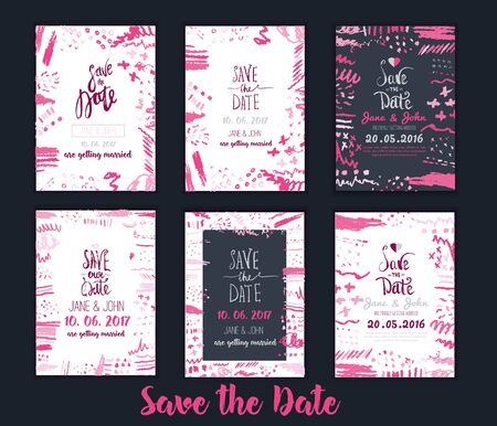 tha: Save tha Date invitationon set with Ink texture, hand drawn artistic invitation. Template for sale banner, wedding, valentine, trendy grunge card design for party Illustration