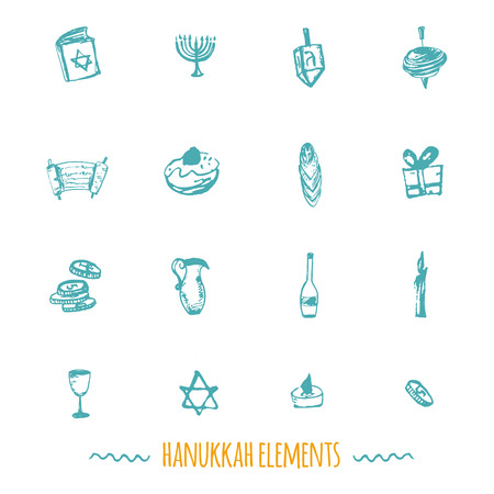 gelt: Hanukkah icons big set in hand drawn style including menorah, star, dreidel, torah, donut, gift. can be used for wrapping, banners, greeeting cards Illustration