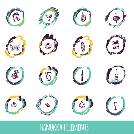 Hanukkah icons big set in hand drawn style including menorah, star, dreidel, torah, donut, gift. can be used for wrapping, banners, greeeting cards 向量圖像