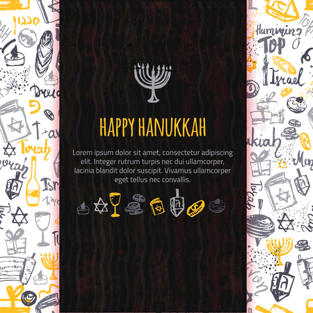 hanuka: Happy Hanukkah greeting card with hand drawn elements and lettering. Menorah, Dreidel, candle, hebrew star for your design