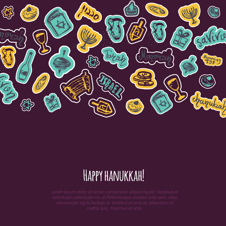 Happy Hanukkah greeting card with hand drawn elements and lettering on dark background. Menorah, Dreidel, candle, hebrew star for your design