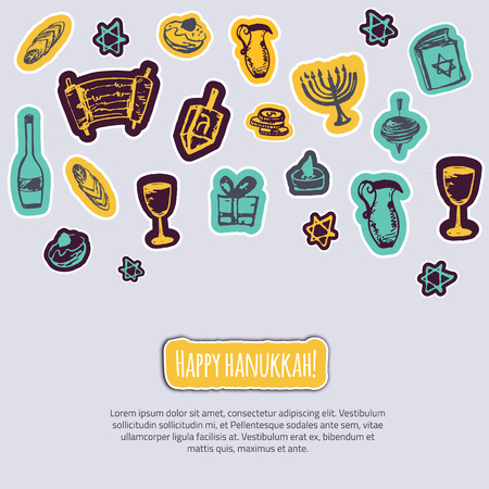 gelt: Happy Hanukkah greeting card with hand drawn elements and lettering on gray background. Menorah, Dreidel, candle, hebrew star for your design