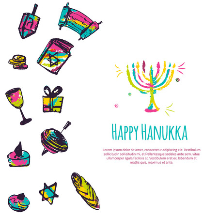 gelt: Happy Hanukkah colorful greeting card with hand drawn elements on white background. Menorah, Dreidel, candle, hebrew star for your design