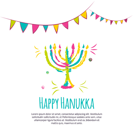 gelt: Happy Hanukkah colorful greeting card with hand drawn elements on white background