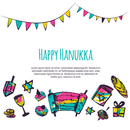 Happy Hanukkah colorful greeting card with hand drawn elements on white background. Menorah, Dreidel, candle, hebrew star for your design