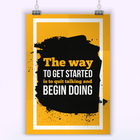 get a workout: The way to Get started is Doing. Sport Running Typography Workout Motivation Poster.